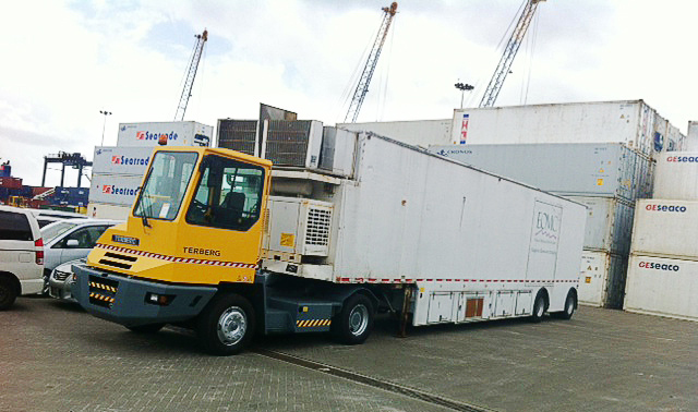 Fresh delivered Terberg@Work at 'Nieuwe Haven' in Suriname.
